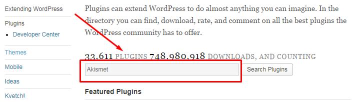 Cari plugin yang anda inginkan instal di website WordPress anda